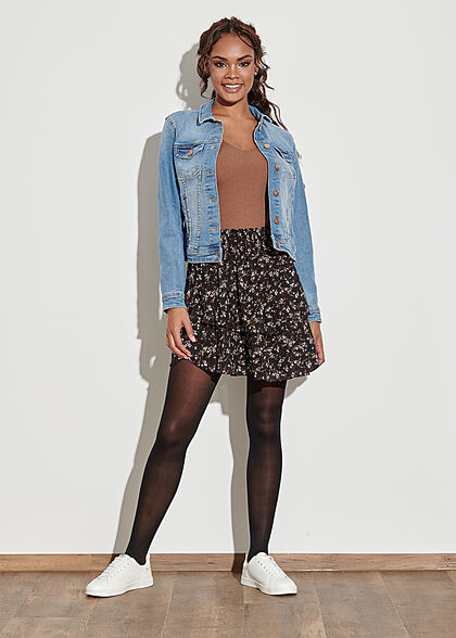 Styleboom Fashion Damen Mini Stufenrock Blumen Print 2-lagig schwarz weiss braun