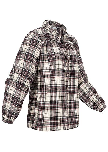 Seventyseven Lifestyle Damen leichte V-Neck Bluse Karo Muster Rüschen rose braun