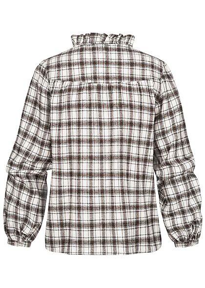 Seventyseven Lifestyle Damen leichte V-Neck Bluse Karo Muster Rüschen schwarz weiss
