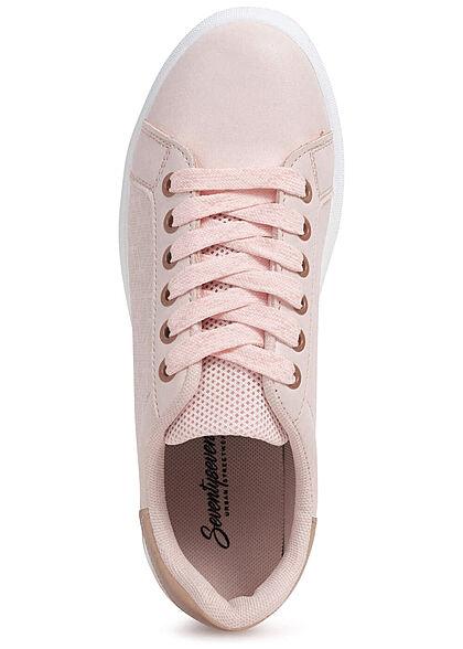 Seventyseven Lifestyle Damen Schuh Kunstleder Sneaker Mesh Look rosa rosegold