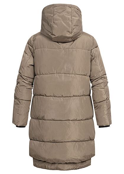 ONLY Damen langer Winter Puffermantel Steppjacke Kapuze 4-Pockets walnut braun