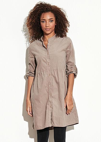 Styleboom Fashion Damen Kleid Turn-Up mit Knopfleiste taupe braun