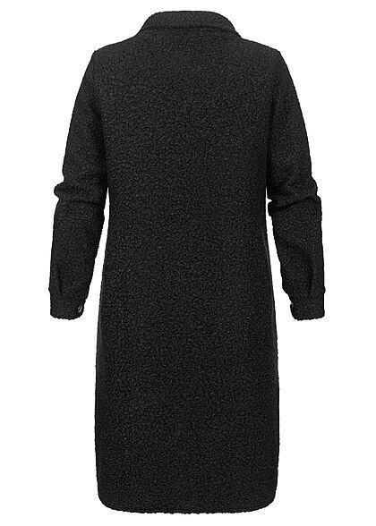 Styleboom Fashion Damen Jacke Longform Blusen-Style 2-Pockets schwarz