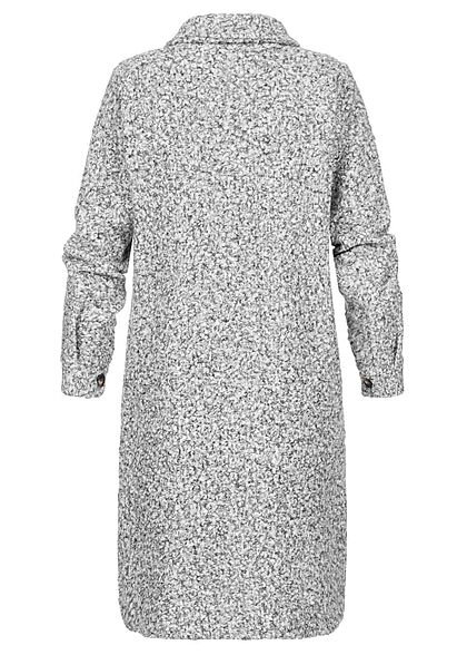 Styleboom Fashion Damen Jacke Longform Blusen-Style 2-Pockets grau