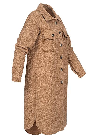 Styleboom Fashion Damen Jacke Longform Blusen-Style 2-Pockets beige braun