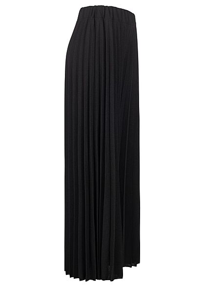 Styleboom Fashion Damen Hose Longform Elastic Waistband schwarz