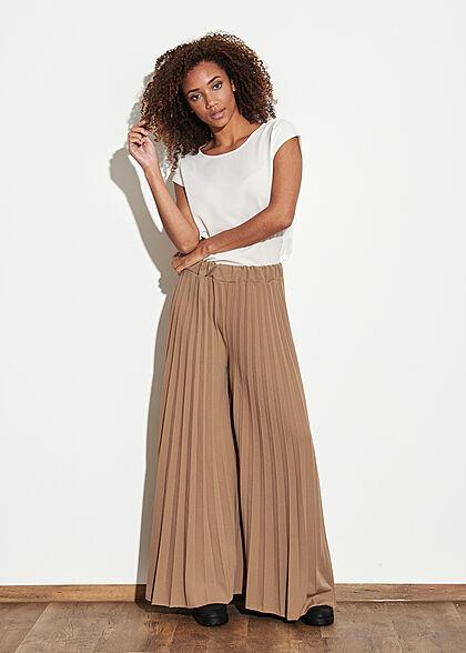 Styleboom Fashion Damen Hose Longform Elastic Waistband beige