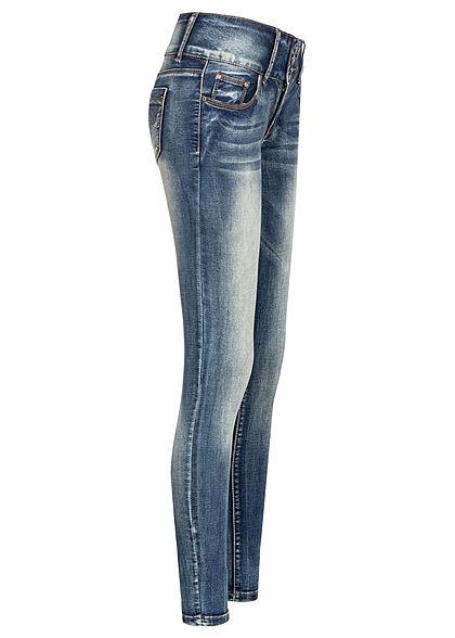 Seventyseven Lifestyle Damen Skinny Jeans Hose breiter Bund mit 3er Knopfleiste med. blau