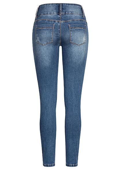 Seventyseven Lifestyle Damen Skinny Jeans Hose breiter Bund mit 3er Knopfleiste d. blau