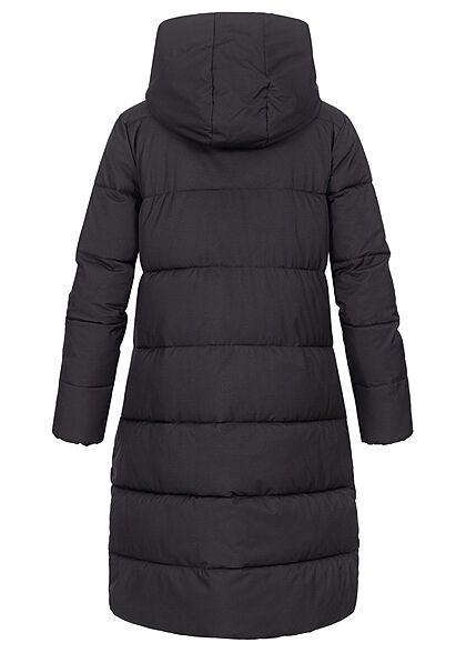 Seventyseven Lifestyle Damen Winter Steppmantel mit Kapuze 2-Pockets schwarz