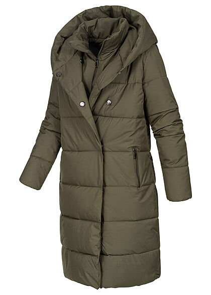 Seventyseven Lifestyle Damen Winter Steppmantel mit Kapuze 2-Pockets khaki