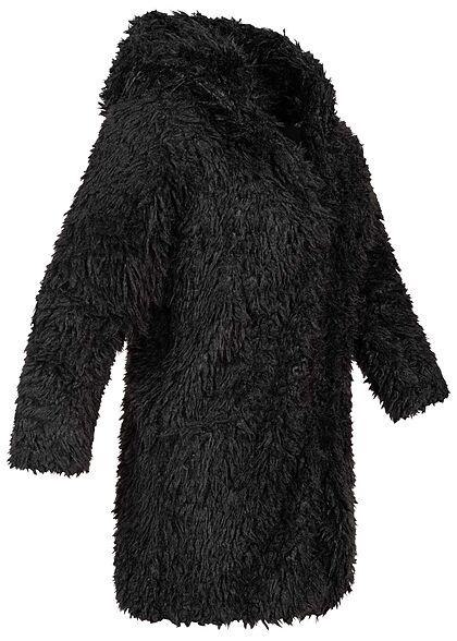 Seventyseven Lifestyle Damen Teddyfell Jacke mit Kapuze 2-Pockets schwarz