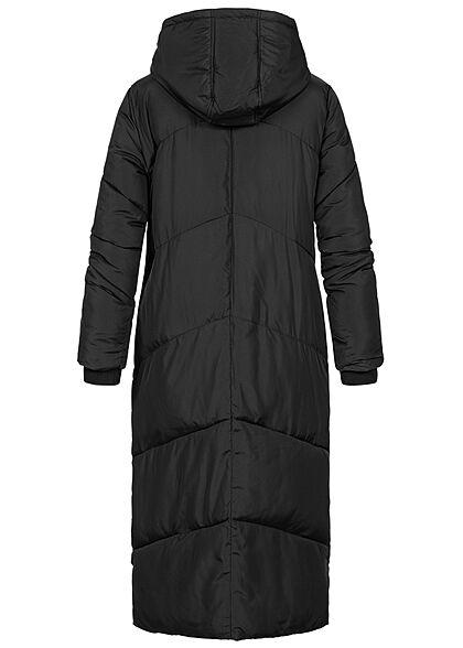 Seventyseven Lifestyle Damen langer Winter Steppmantel Kapuze 2-Pockets schwarz