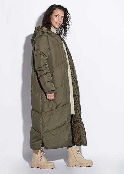 Seventyseven Lifestyle Damen langer Winter Steppmantel Kapuze 2-Pockets khaki