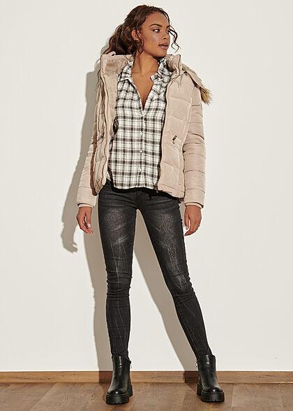 Seventyseven Lifestyle Damen Winter Steppjacke abnehmb. Kunstfellkapuze beige
