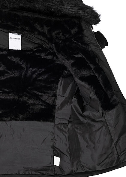 Seventyseven Lifestyle Damen Winter Steppjacke abnehmb. Kunstfellkapuze schwarz