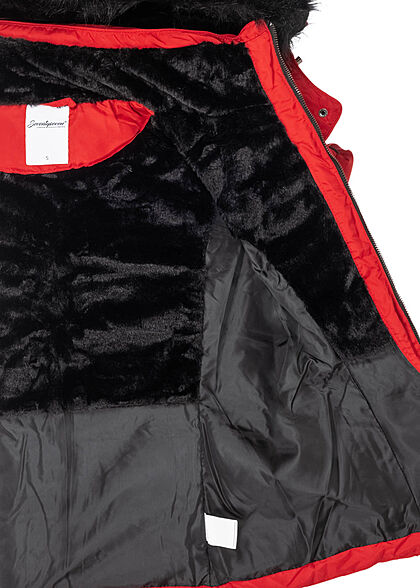 Seventyseven Lifestyle Damen Winter Steppjacke abnehmb. Kunstfellkapuze tango rot