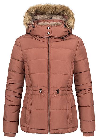 Seventyseven Lifestyle Damen Winter Steppjacke abnehmb. Kunstfellkapuze rose braun