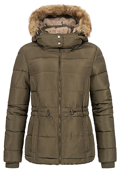 Seventyseven Lifestyle Damen Winter Steppjacke abnehmb. Kunstfellkapuze khaki