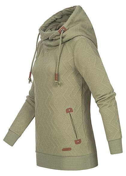 Seventyseven Lifestyle Damen Strucktur Hoodie mit Rauten Muster 2-Pockets basil grün